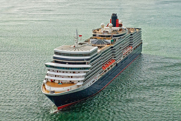 Aerial View of Cunard's Queen Elizabeth Leaving Southampton