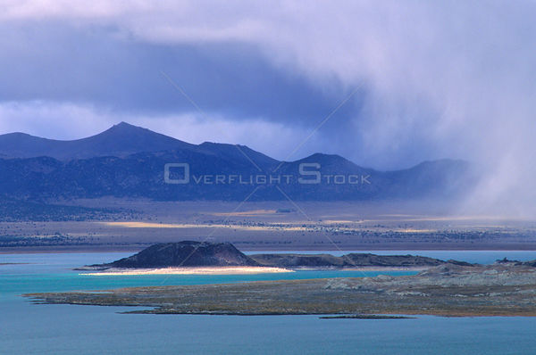An autumn storm sweeps across the Mono Basin from the east slope of the Sierra Nevada Mountains. Mono Lake, Mono Basin Nation...