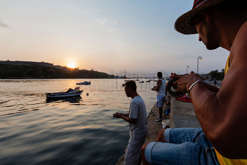 Fishermen on the Entrance to the Havana Harbour