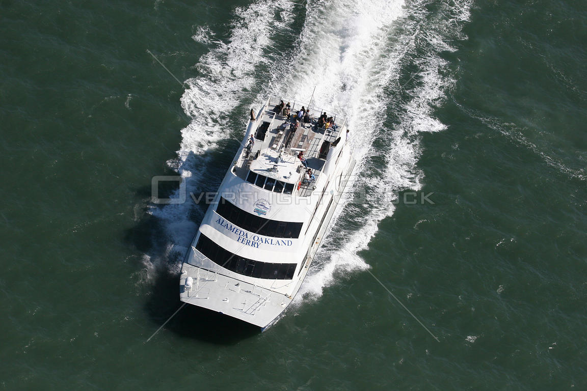Aerial view of Alameda-Oakland passenger ferry, San Francisco Bay, California