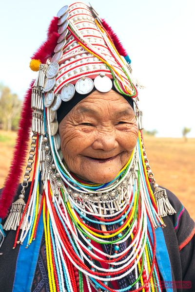 Portrait of old woman of Ahka tribe, Chiang Rai, Thailand