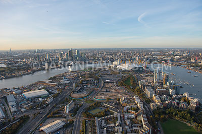 Aerial view, Greenwich Peninsula, Isle of Dogs, River Thames, London.