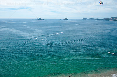 The wake of the boat pulling the parasail. Playa el Palmar Ixtapa Mexico