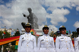 Female navy cadets standing in front of monument to Eduardo Abaroa during Dia del Mar / Day of the Sea , Plaza Avaroa , La Pa...
