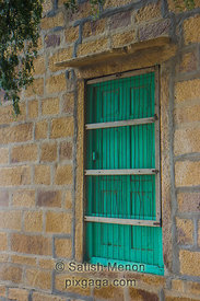 Green Window in Golden Building, Jaisalmer, India