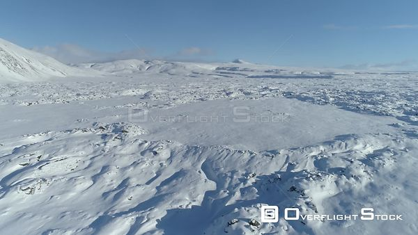 Snow Covered Volcanic Crater Revealing Shot Iceland Winter Aerial