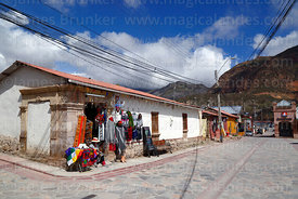 Tourist souvenir shop on corner of main square, Putre, Region XV, Chile