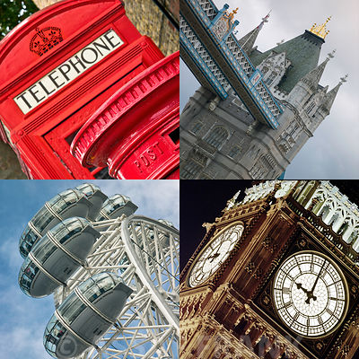 Collage of famous places in London city, UK