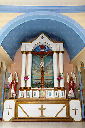 Main altar of church of the Holy Redeemer / Santísimo Redentor in Huara, Region I, Chile