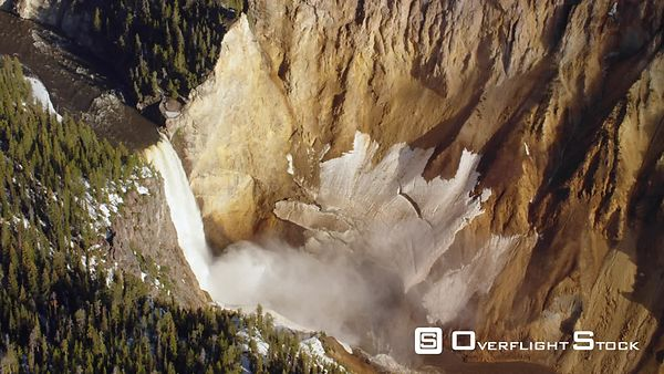 Dramatic shot of the Grand Canyon and lower falls of the Yellowstone River in Yellowstone National Park