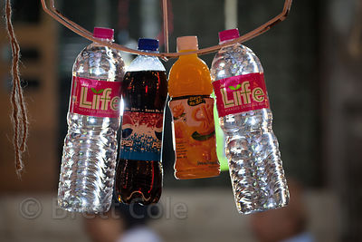 Bottled water and cold drinks for sale during the Ganesh Chaturthi festival, Lalbaug, Mumbai, India.