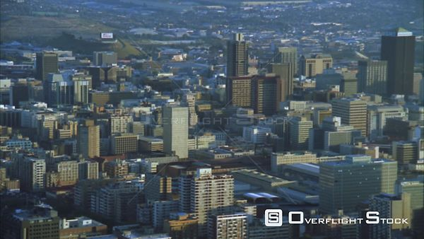 Aerial of the Johannesburg Central Business including the Hillbrow Tower during early morning/evening. Johannesburg Gauteng S...