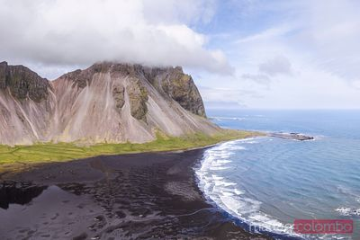 Aerial drone view of Stokksnes, Iceland