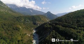 Mountain rapids, C4K aerial drone view over a turquoise soca river, in the alpine nature, near Trigolov national park, on a s...