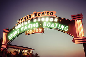 Santa Monica Pier Sign Retro Photo
