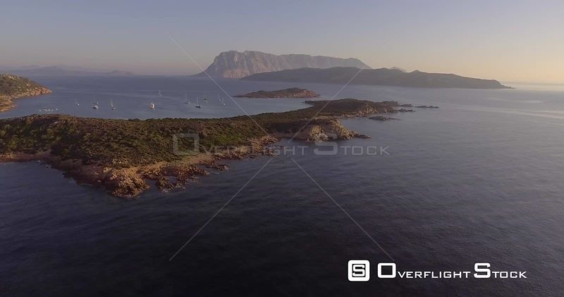 Aerial beautiful rocky coast on Sardinia island in Italy