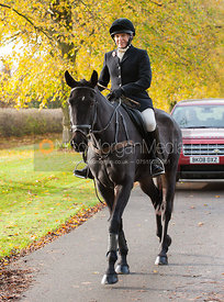 Hilary Butler arrives at the meet - Cottesmore Hunt Opening Meet, 30/10/12