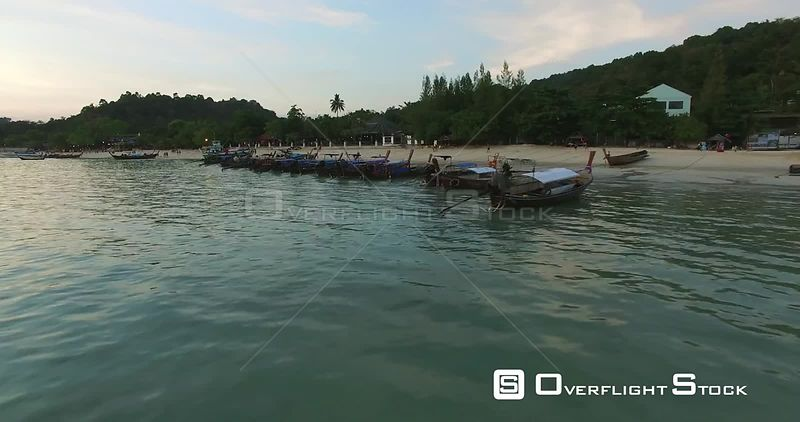 Thai Long Tail Boats Ko Phi Phi Don Island Thailand Drone Footage
