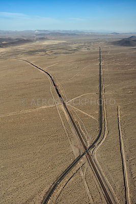 U.S. Route 66 disappearing in the Mojave Desert east of Ludlow,  San Bernardino County, California, USA.