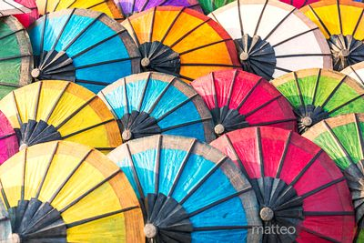 Colorful asian paper umbrellas for sale, Laos