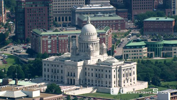 Aerial view of capitol building and downtown Providence, Rhode Island