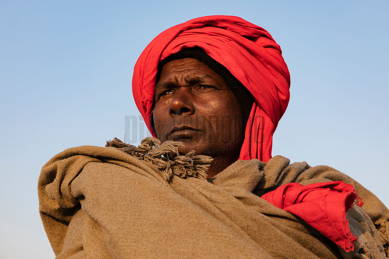 Portrait of a Man from Bihar Wearing a Red Turban