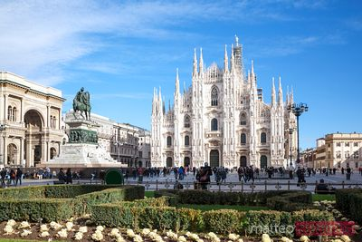 Duomo square with famous cathedral, Milan, Italy