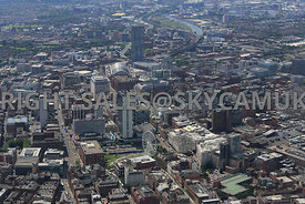 Manchester view of Manchester skyline showing Portland Street Piccadilly Plaza and Gardens looking towards Manchester Central...