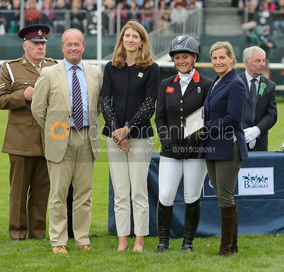 Gemma Tattersall during prize giving, Land Rover Burghley Horse Trials 2017