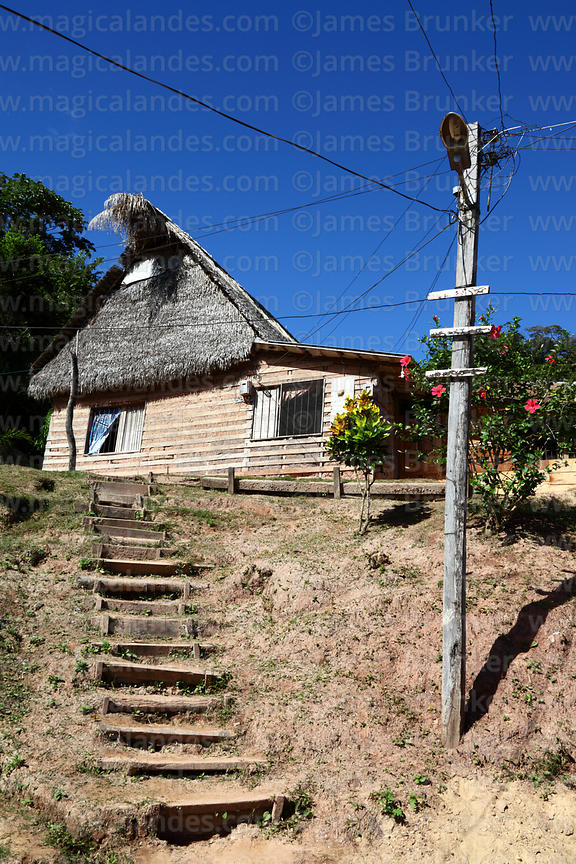 Typical wood and palm thatch house in Rurrenabaque , Beni , Bolivia