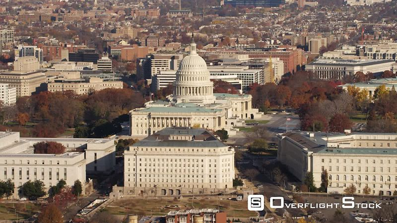 Flying Over Capitol Hill from South Capitol Street to Pennsylvania Avenue With Rayburn House Office Building in Front of Capi...