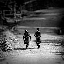 Black Hmong Girls on Road