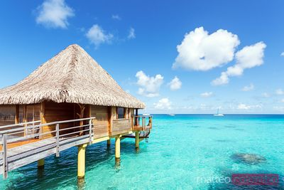 Water bungalow, Rangiroa atoll, French Polynesia
