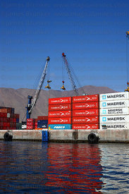 Cranes and containers in port , Iquique , Region I , Chile