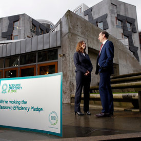 Scottish Parliament, Edinburgh.12.1.16.Marissa Lippiatt (Head of Resource Efficient Scotland) and David McGill (Parliament as...