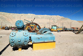 Disused Ingersoll-Rand motor / air compressor on display near Chuquicamata mine, Region II, Chile