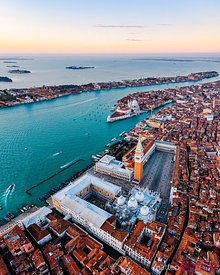Aerial of St Mark's square at sunrise, Venice, Italy