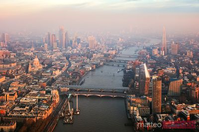 Aerial view of river Thames and Central London, UK