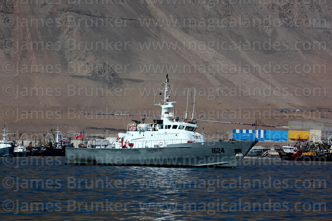 Chilean Navy Protector Class General Service Launch # LSG-1624 moored off desert coast near Iquique , Region I , Chile
