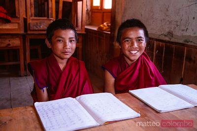 Buddhist monks at school, Upper Mustang, Nepal
