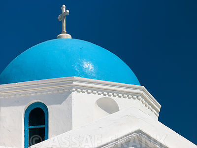 Greece, Mykonos Island. low angle view of church