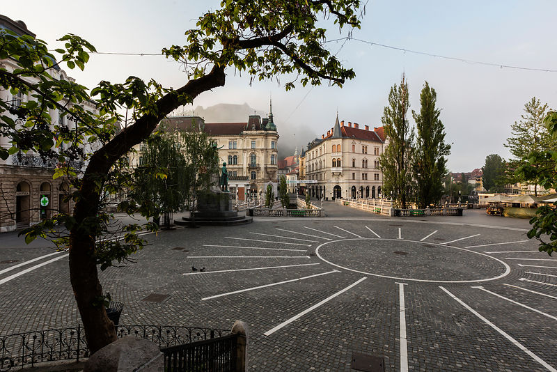 Prešeren Square on a Foggy Morning
