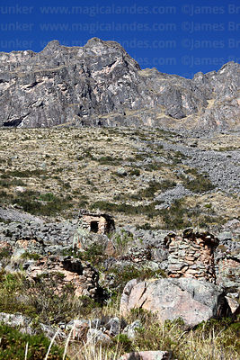 Chullpas or burial towers by Inca quarries at Cachicata, near Ollantaytambo, Sacred Valley, Peru