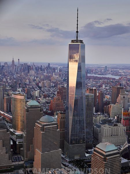 Aerial photograph of the Freedom Tower in New York City Financial District