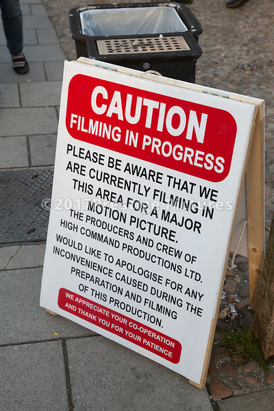 Public notice of filming taking place ivy High Command Productions Ltd on a Central London street