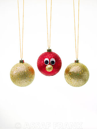 Christmas Baubles on white background