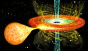 Black Hole with orbiting star and accretion disk