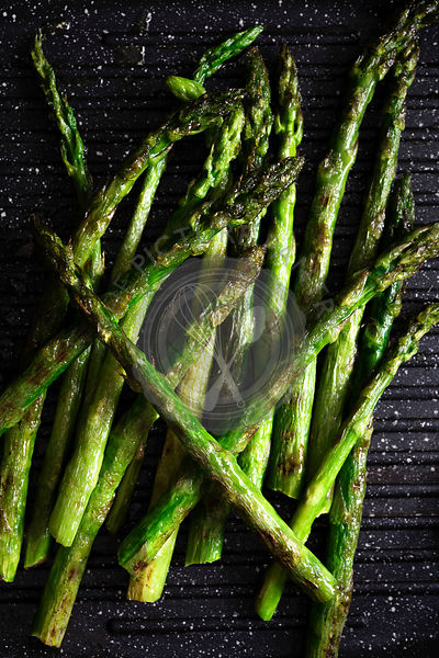 Chargrilled asparagus spears.