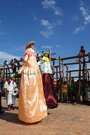 Giant gigante figures during main procession of festival, San Ignacio de Moxos, Bolivia