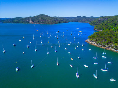 Luxury yachts and motor boats moored in waters of Brooklyn Australia